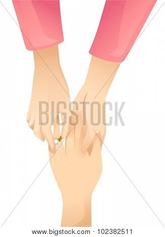 Illustration of a Lesbian Putting an Engagement Ring on Her Partner's Finger