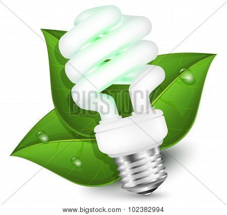 Energy Saving Fluorescent Light Bulb With Green Leaf - Eco Energy Concept. Vector Illustration
