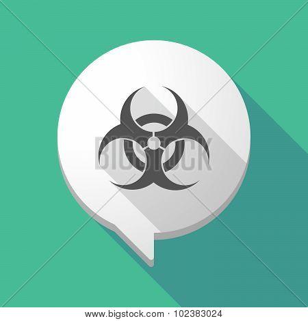Long Shadow Comic Balloon With A Biohazard Sign