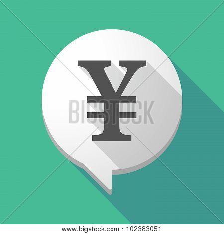 Long Shadow Comic Balloon With A Yen Sign