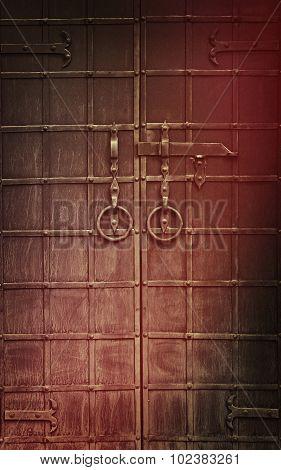 Old Black Metal Gate Taken Closeup.