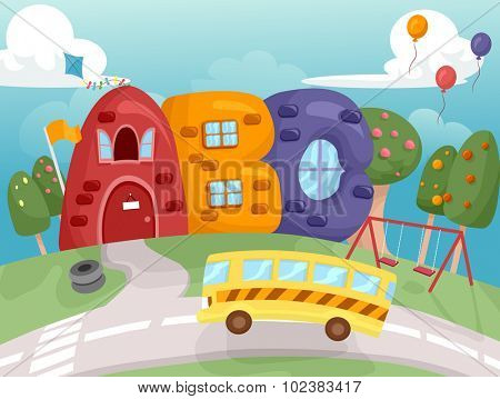 Illustration of a School Bus Stopping in Front of a School Shaped Like Letters of the Alphabet