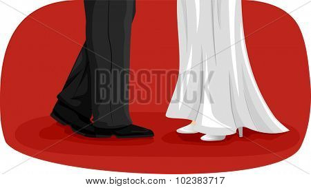 Illustration of a Newlywed Couple Doing a Wedding Dance