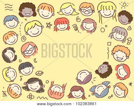 Frame Illustration of Kids with Diverse Backgrounds