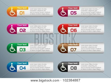 Disabled Handicap icon and marketing icons on Infographic design template.