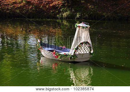 Wedding Boat On A Lake.