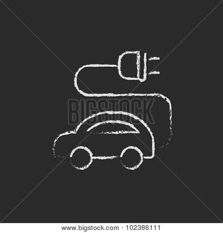 Electric car hand drawn in chalk on a blackboard vector white icon isolated on a black background.