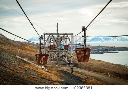 Old Cable Car For Coal Transportation, Svalbard, Norway