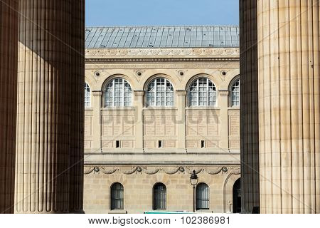 PARIS, FRANCE - SEPTEMBER 8, 2014: Paris - Sainte-Geneviève Library. public and university library in Paris. It was designed in Neo-Grec style by the architect Henri Labrouste (1801-1875). Place du Panthéon Paris