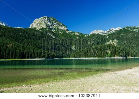 The Picturesque Black Lake In The Summer. Durmitor National Park, Montenegro