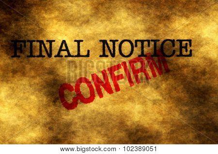 Final Notice Confirm