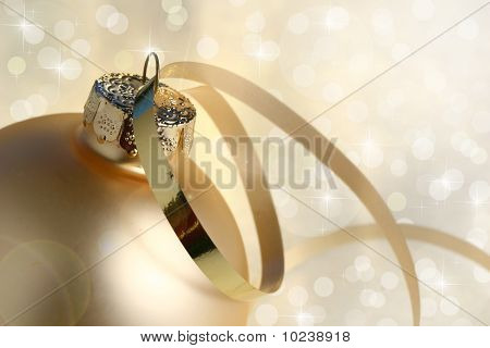 Gold Christmas Bauble And Lights