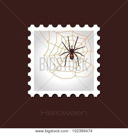 Spider Web And Spider Halloween Stamp