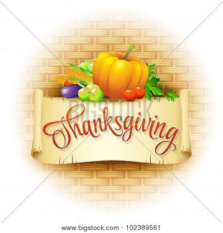 Thanksgiving Card wicker basket background. Vector illustration