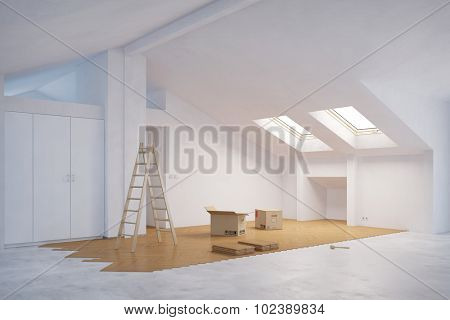 Laying out new hardwood floor in attic room (3D Rendering)