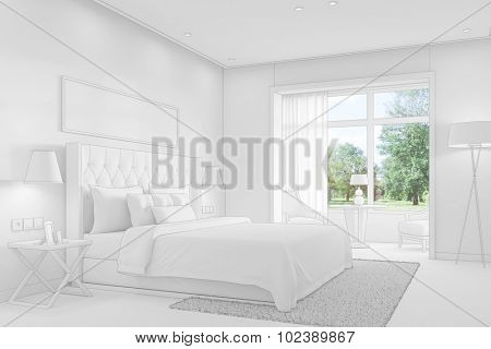 Bedroom with double bed with CAD wireframe mesh (3D Rendering)