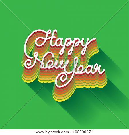 Happy New Year invitation. Elegant hand drawn lettering. vector illustration