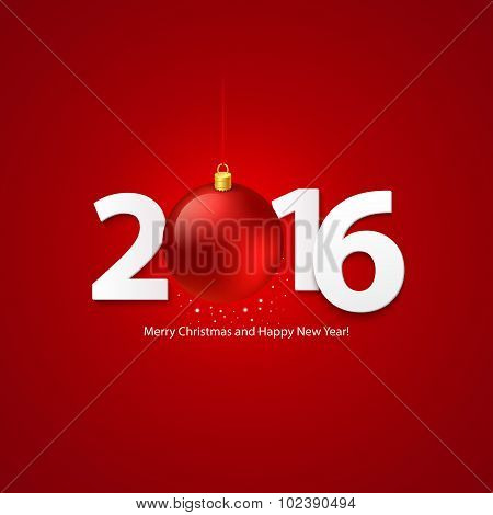 2016 Merry Chrstmas and Happy New Year Background. Vector illustration