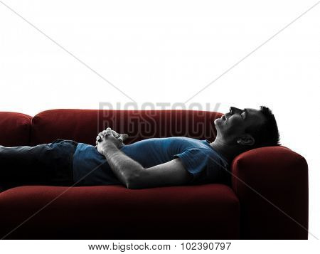 one caucasian man sofa couch sleeping in silhouette isolated on white background