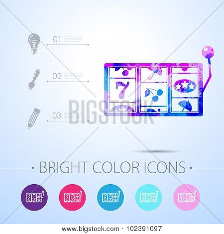 Vector slot icon. with infographic elements