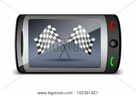 Touch Phone With Checkered Flags On The Screen