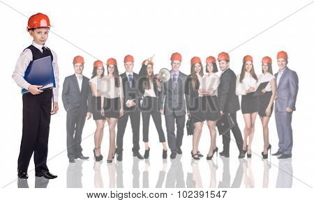 Young boy, business people, builders,