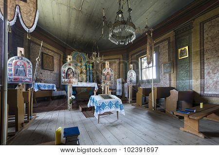 Old Wooden Orthodox Church Interior, Poland