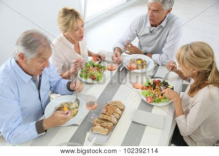 Goup of senior people having lunch together at home