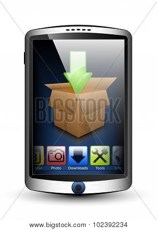 Smartphone With Menu And Download Icon On The Big Touch Screen. Vector Illustration