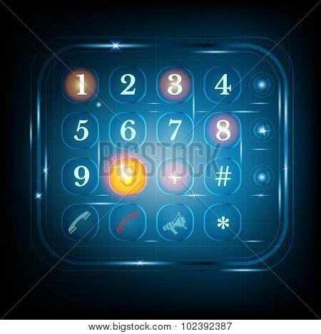 virtual phone keyboard or keypad. dialing template