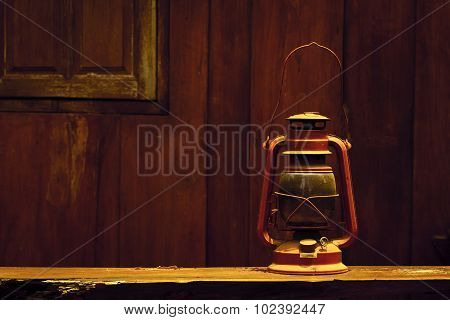 Old hurricane lamp in vintage