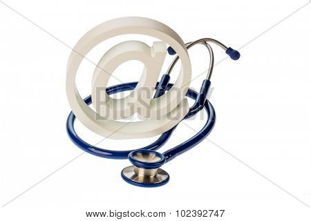an e-mail sign and a stethoscope on a white background. symbolic photo for internet in the doctor's office.