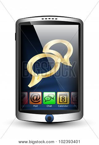 Smartphone With Menu And Chat Icon On The Big Touch Screen. Vector Illustration