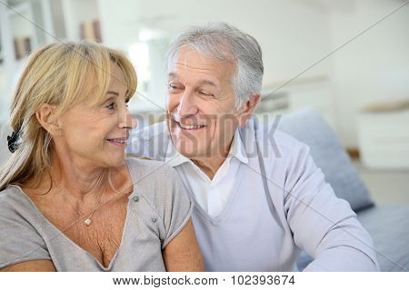 Senior couple looking at each other's eyes