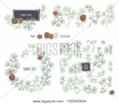 Set of decorative cones. Coniferous seamless pattern. Frame wreath. Larch branches with cones.