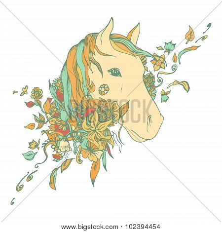 Abstract colored horse head, print.
