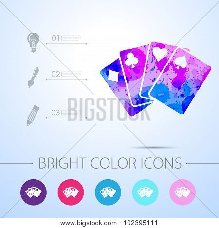 Vector game cards icon. with infographic elements