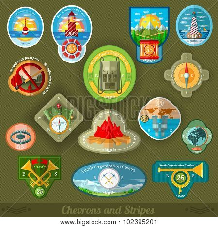 flat set patches of youth tourist or scouts organization