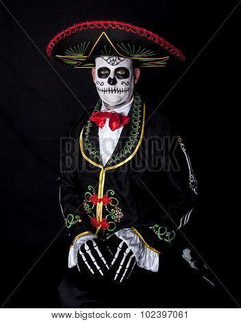 Man sitting in Cinco de Mayo halloween costume