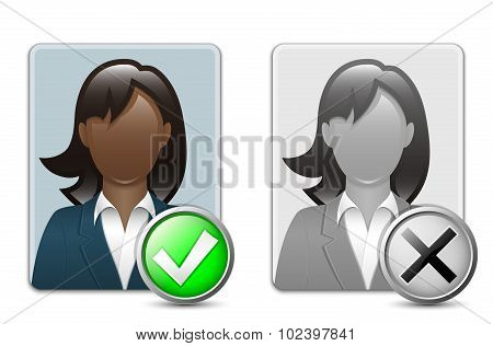 Black Woman User Icons. Vector