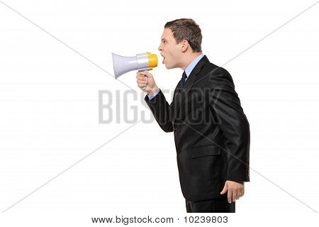Angry Businessman Announcing Via Megaphone