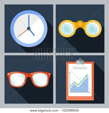 Set of four icons with the clock, binoculars, sunglasses