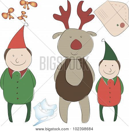 Set Of Elements For The New Year Or Christmas Decor. Santa's Helper Elf And Reindeer, Bows For Decor