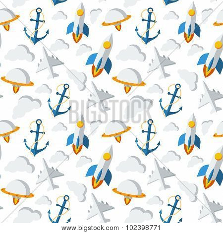 Seamless pattern on the theme of travel and adventure
