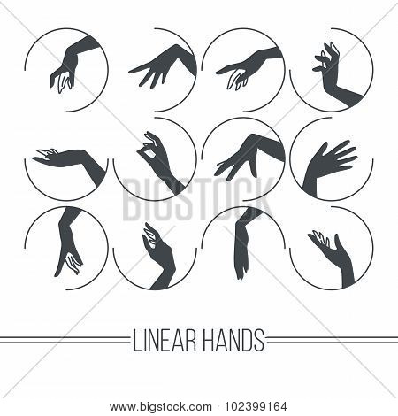 Set of icons of linear mapping graceful female hands