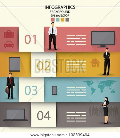 Infographics template with four fields and icons of electronic equipment and business people