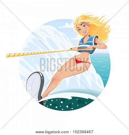 Beautiful girl on water ski. Eps10 vector illustration. Isolated on white background