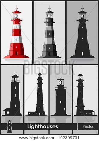 Lighthouses. Set of huge lighthouses.