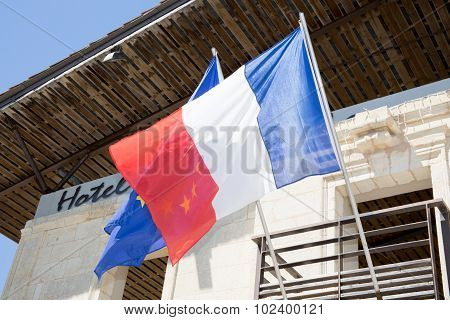 French Flag Under A Blue Sky