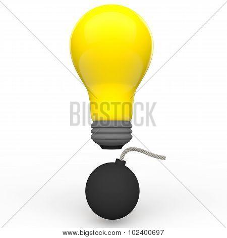 3d idea bulb and bomb